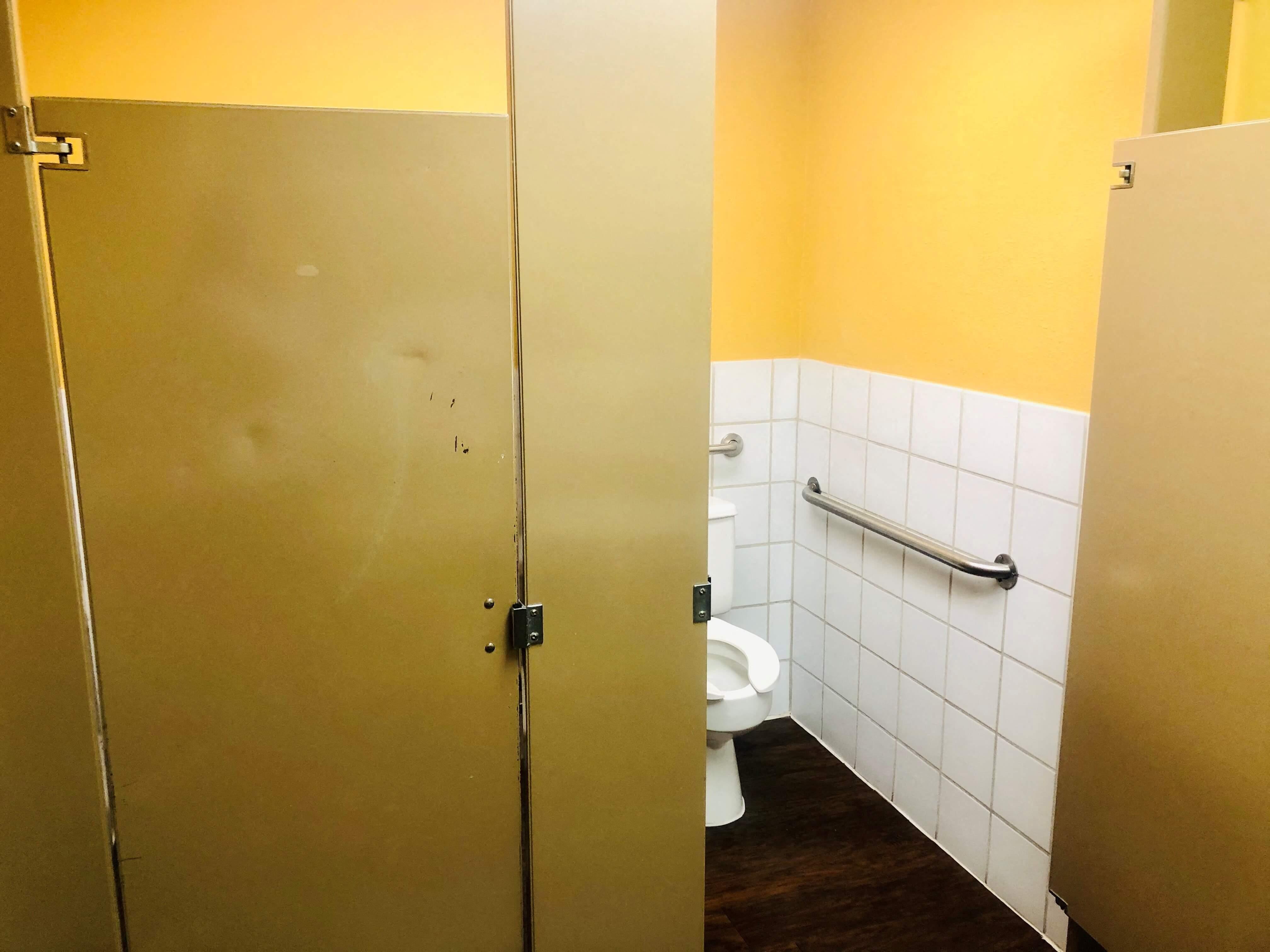 Public bathroom stall with grab-bar.
